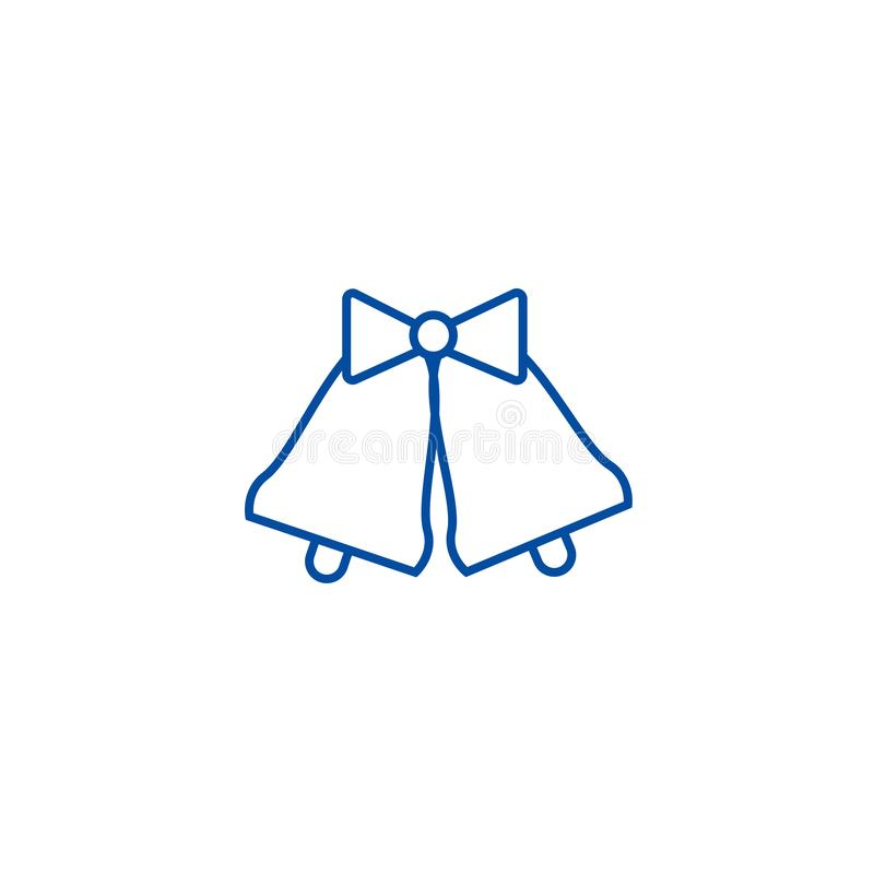 Hochzeitsglocken zeichnen Ikonenkonzept Flaches Vektorsymbol der Hochzeitsglocken, Zeichen, Entwurfsillustration lizenzfreie abbildung