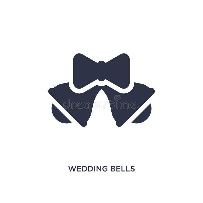 Hochzeitsglockenikone auf weißem Hintergrund Einfache Elementillustration vom Geburtstagsfeier- und Hochzeitskonzept stock abbildung