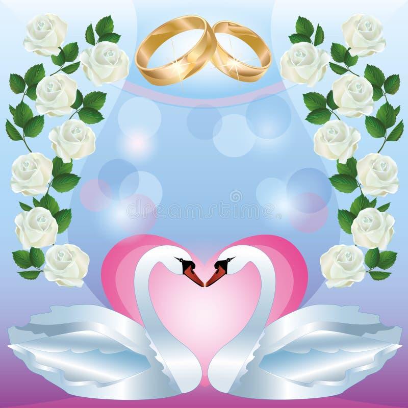 Hochzeitsgruß- oder -einladungskarte mit Schwänen stock abbildung