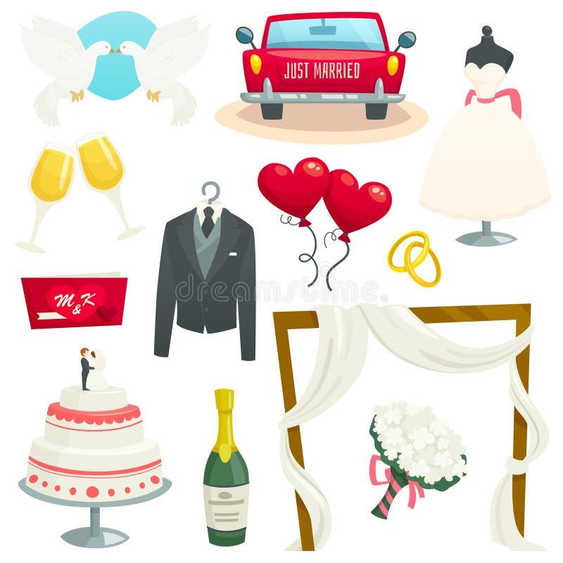 Hochzeitsikonen stellten, Sammlung Gestaltungselemente, Karikaturvektorillustration ein lizenzfreie stockbilder