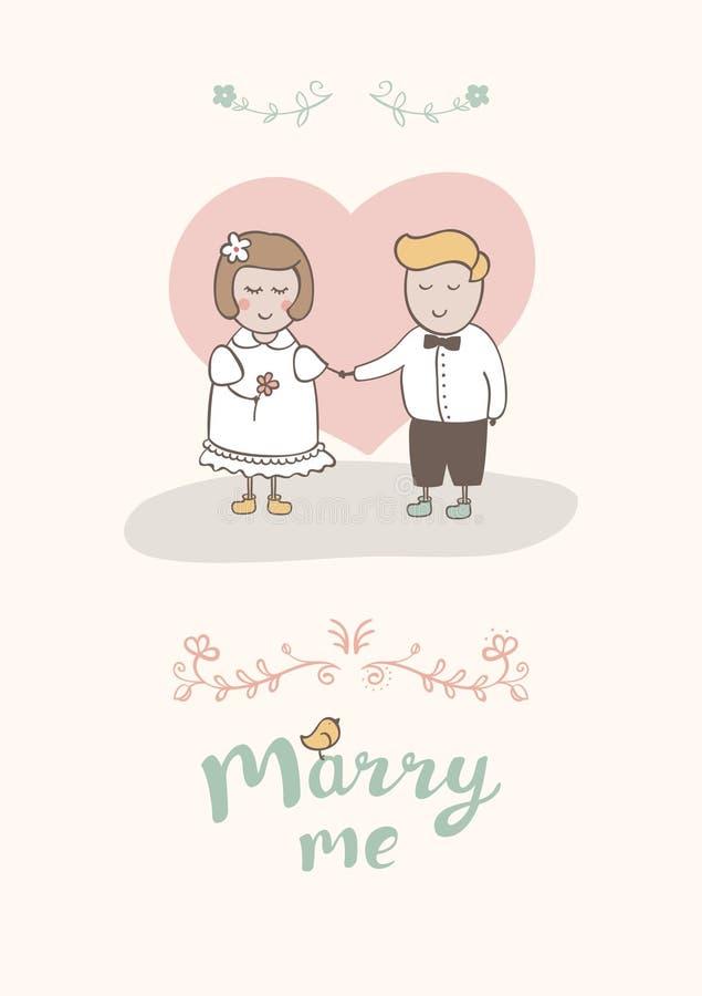 Hochzeitskarikaturkarte mit glücklichem Paar lizenzfreies stockfoto