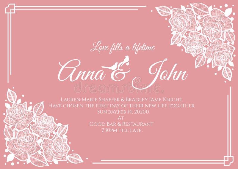 Hochzeitskarte - Blumenrahmen der abstrakten Weißrose auf rosa Hintergrundvektor-Schablonendesign vektor abbildung