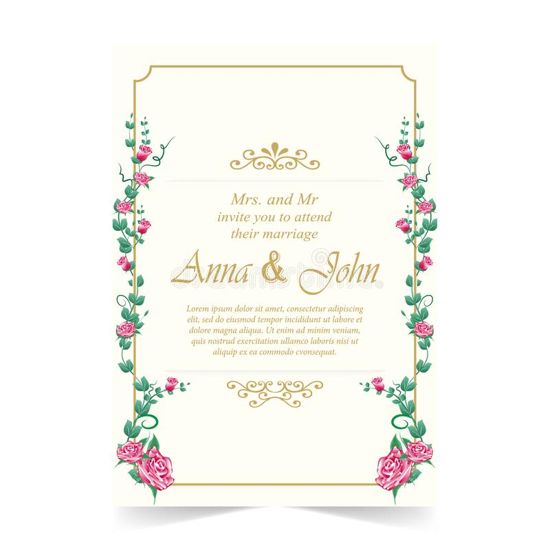 Hochzeitskarte, Einladungskarten-Rotrose auf Elfenbeinhintergrund stock abbildung