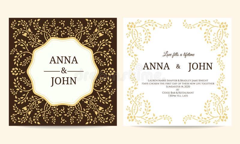 Hochzeitskarte - Gelb- und Brown-Kriechpflanzerahmenweinlese-Vektorschablone entwerfen stock abbildung
