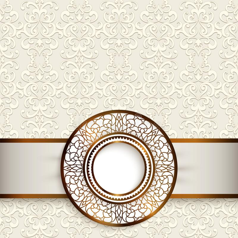 Hochzeitskarte mit dekorativem Goldaufkleber vektor abbildung