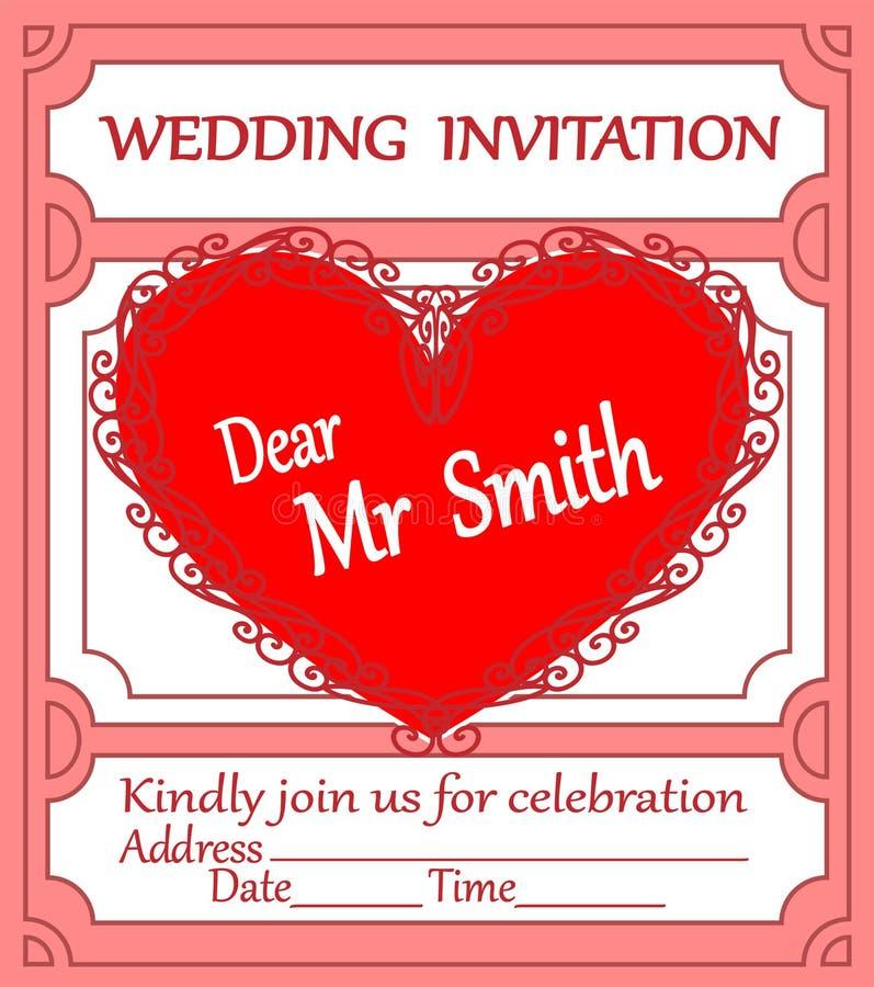 Hochzeitskarteeinladung mit Spitzeherzen stock abbildung