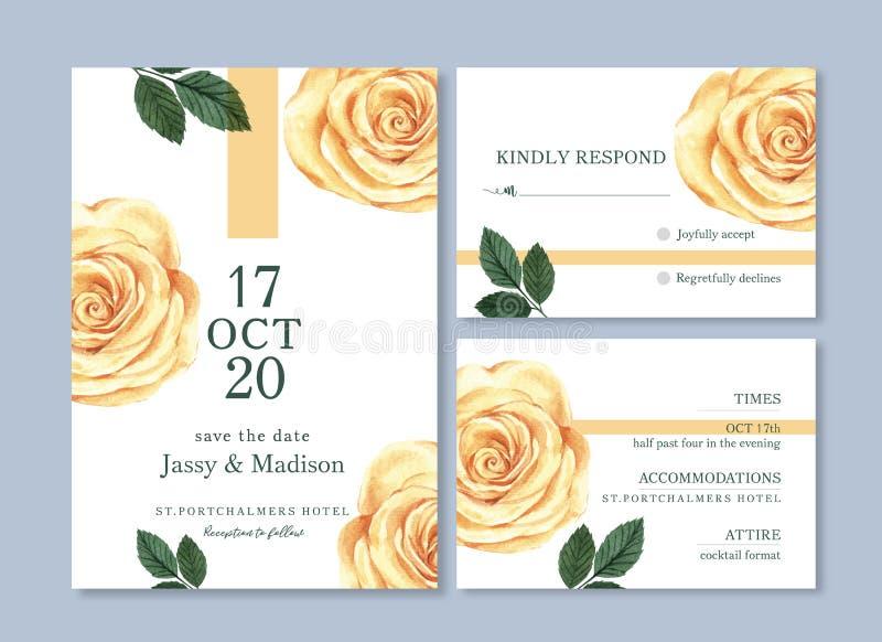 Hochzeitskarten-Blumenaquarell, Dankkarte, Einladungsheiratvektor-Illustrationsentwurf vektor abbildung
