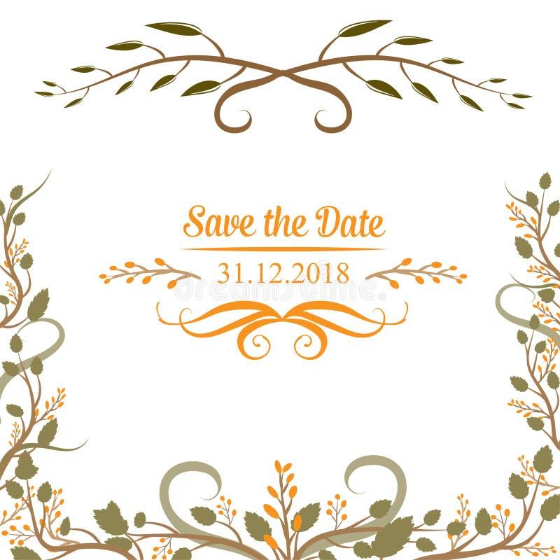 Hochzeitskarten, Blumenhochzeitsgestaltungselemente von den Blumen, Blätter und Niederlassungen lizenzfreie abbildung