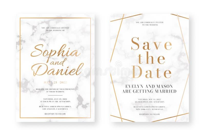 Hochzeitskartenentwurf mit goldenen Rahmen und Marmorbeschaffenheit Heiratsmitteilungs- oder Einladungsentwurfsschablone vektor abbildung