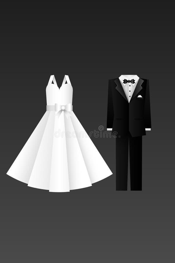 Hochzeitskartenillustration - Kleidung der Braut und des Bräutigams - überlagerte Elemente stock abbildung