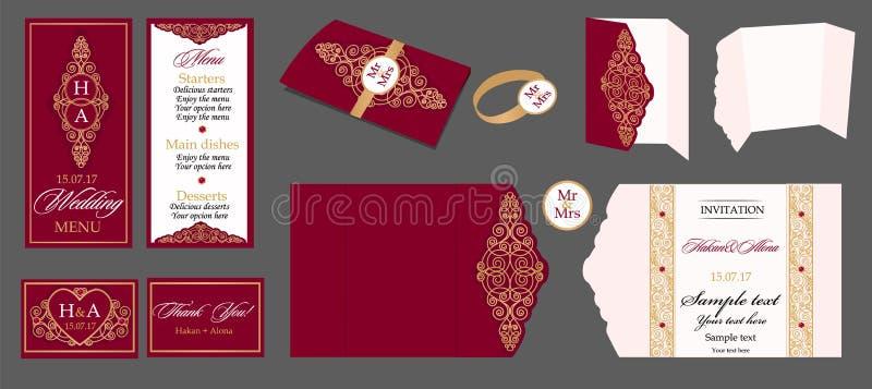 Hochzeitskartensammlung - Menü, Barkarte, Einladung, Tabellenkarten lizenzfreie abbildung