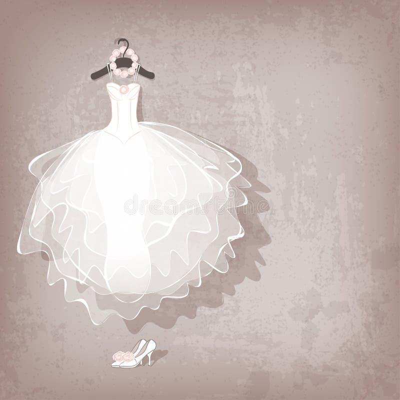 Hochzeitskleid auf grungy Hintergrund lizenzfreie abbildung