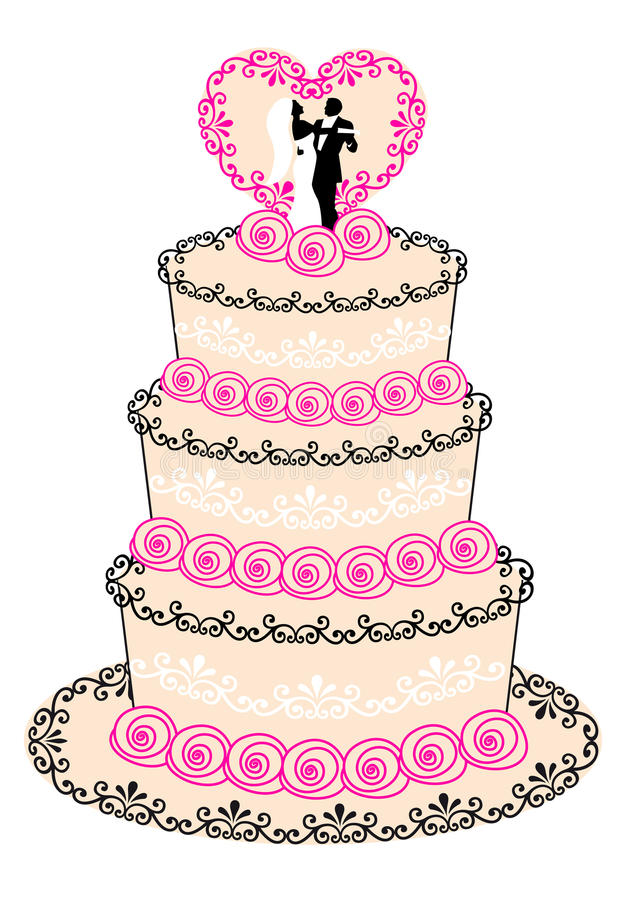 Hochzeitskuchen,   vektor abbildung