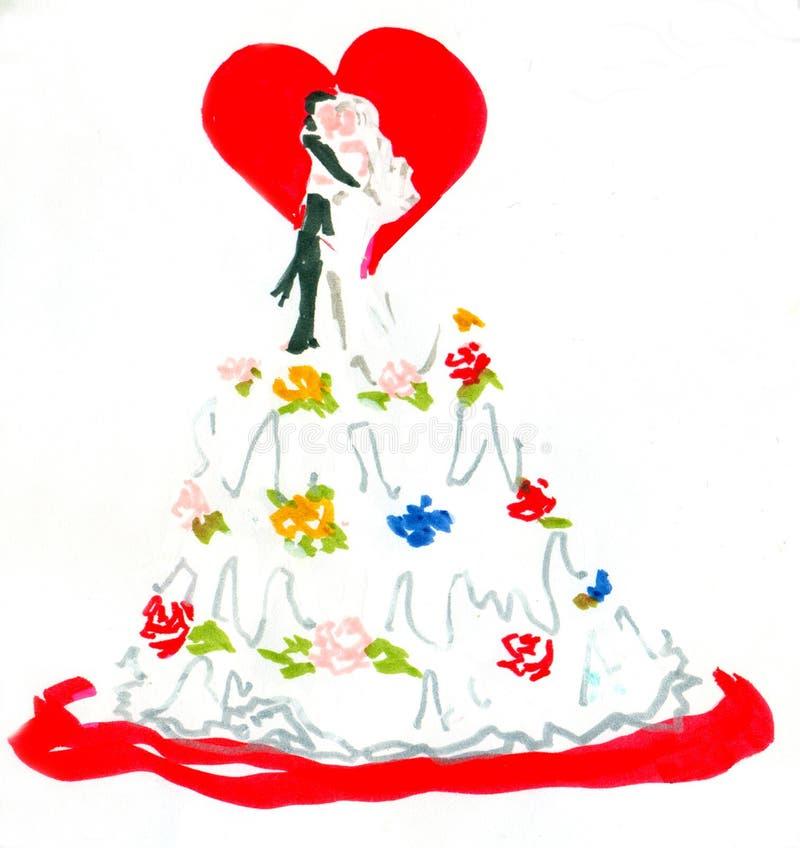 Hochzeitskuchen lizenzfreie abbildung