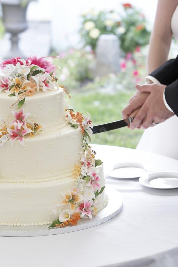 Hochzeitskuchen und -paare stockbild