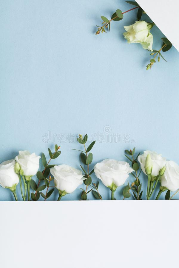 Hochzeitsmodell der Papierkarte verzierte schöne weiße Blumen und Eukalyptusblätter auf Draufsicht des Pastellhintergrundes flach lizenzfreie stockfotos