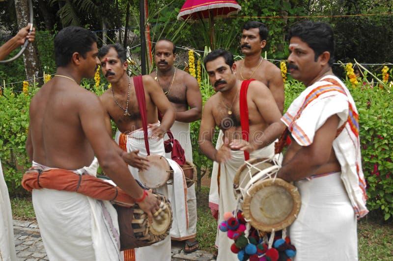 Hochzeitsmusiker, Kerala Indien lizenzfreies stockbild