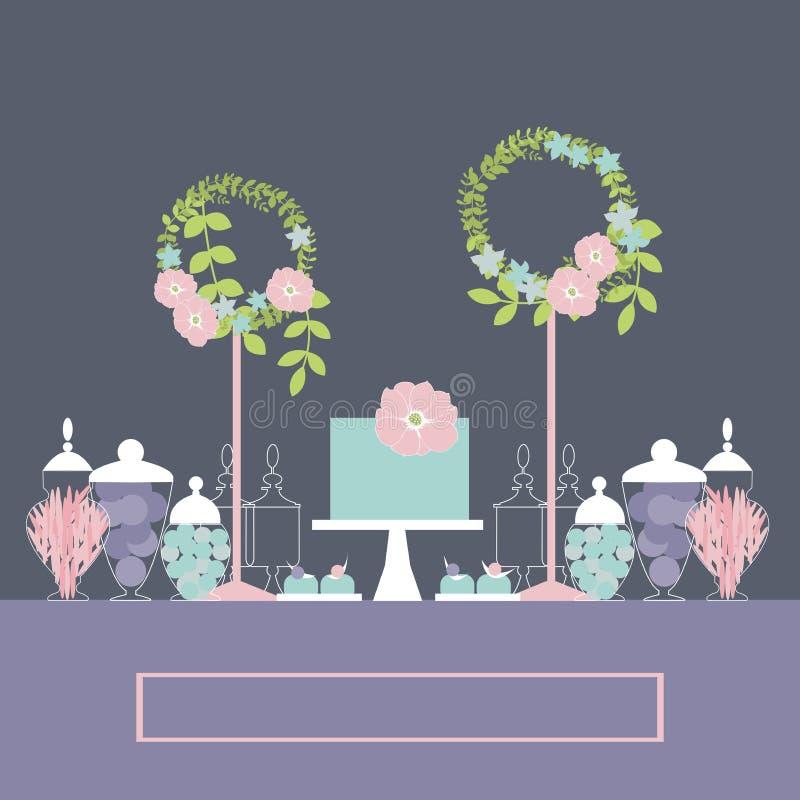 Hochzeitsnachtischstange mit Kuchen und Blumen lizenzfreie abbildung