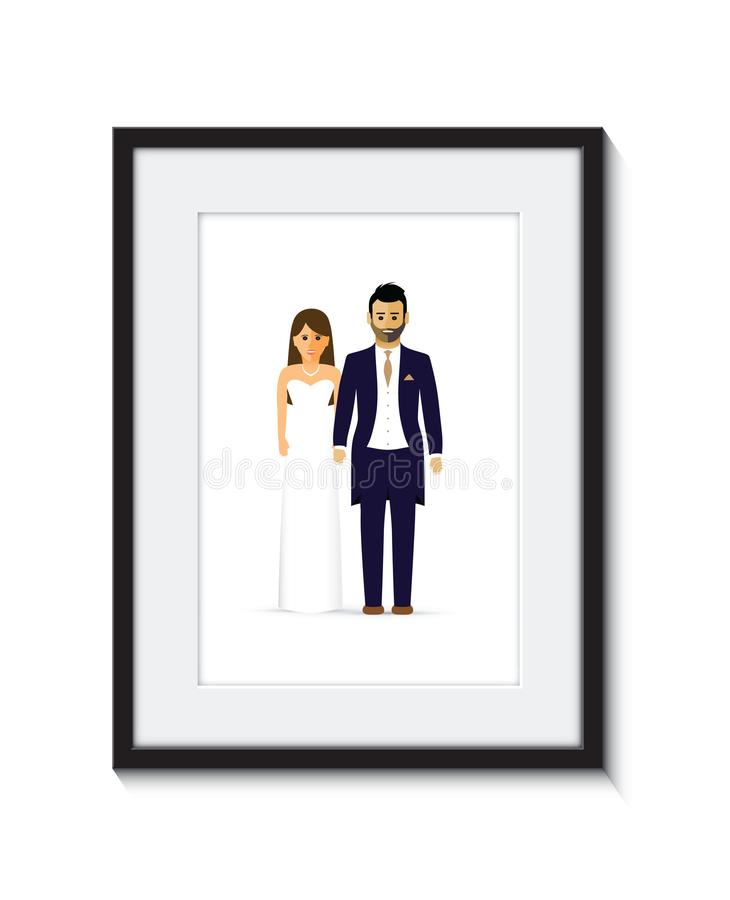 Hochzeitspaar-Fotorahmen lizenzfreie abbildung
