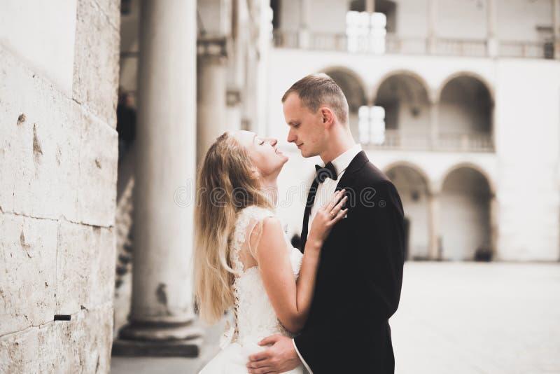 Hochzeitspaarbraut- und -br?utigamh?ndchenhalten stockfotografie