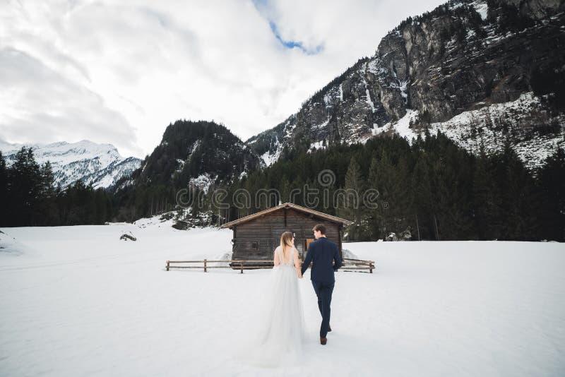 Hochzeitspaarbraut- und -br?utigamh?ndchenhalten stockbild