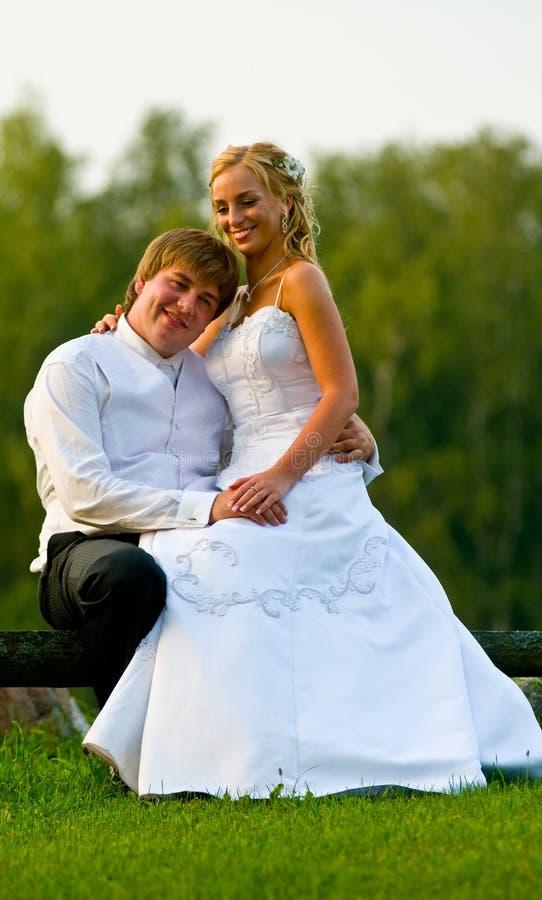Hochzeitspaare auf Parkbank stockbild