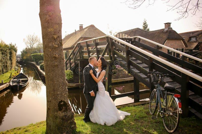 Hochzeitspaare, die nahe Fluss aufwerfen stockfotografie