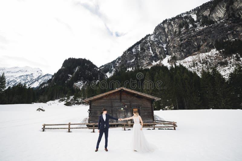 Hochzeitspaarh?ndchenhalten, -br?utigam und -braut zusammen am Hochzeitstag lizenzfreies stockbild