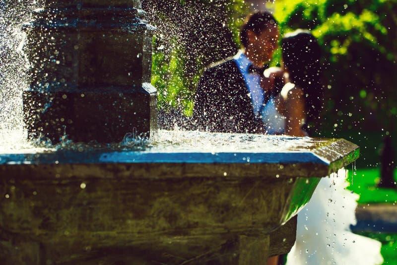 Hochzeitspaarkuß nahe Brunnenwasser stockbilder