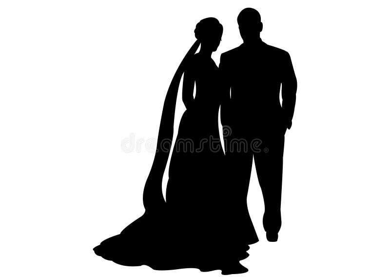 Hochzeitspaarschwarzschattenbild stock abbildung