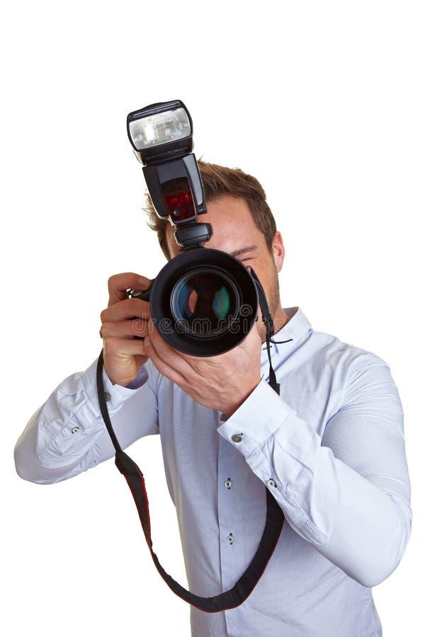 Hochzeitsphotograph mit Kamera stockfotos