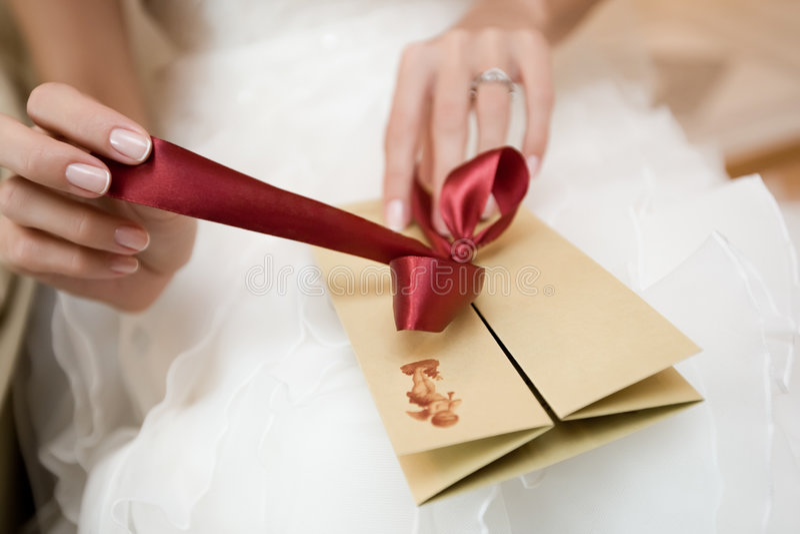 Hochzeitspostkarte lizenzfreie stockfotografie