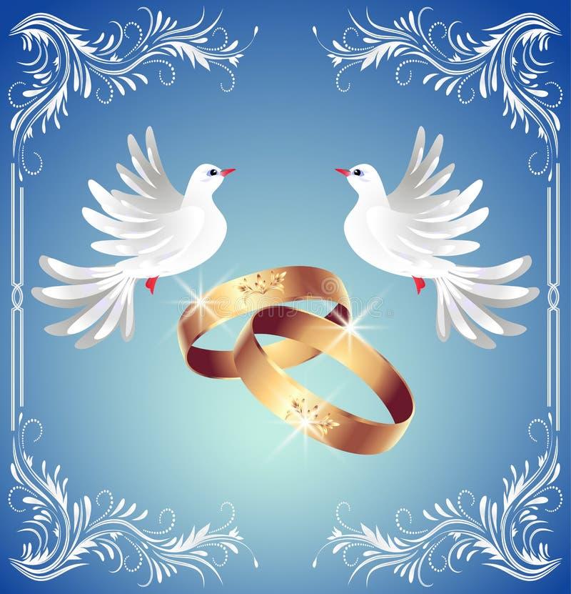Hochzeitsringe und zwei Tauben stock abbildung