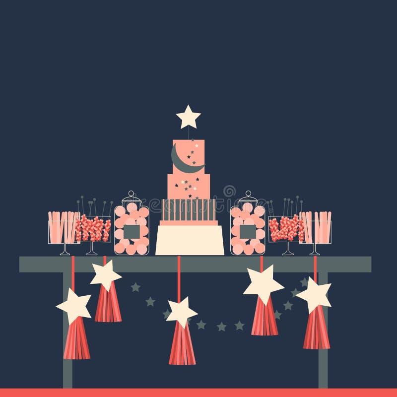 Hochzeitsschokoriegel mit Kuchen Geburtstagsnachtischtabelle Vector Kranken lizenzfreie abbildung