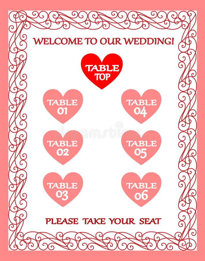 Hochzeitstafeldiagramm, Sitzplan, Weinleserahmen vektor abbildung