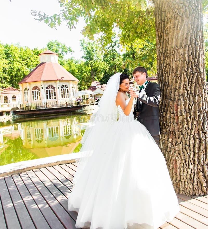 Hochzeitstanz der Braut und des Bräutigams lizenzfreies stockfoto