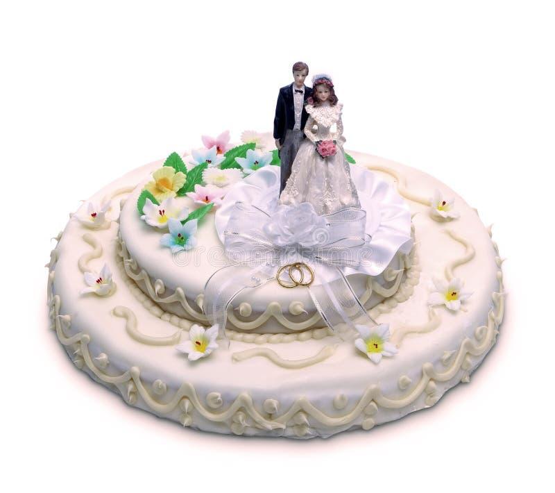 Hochzeitstorte lokalisiert stockfotografie