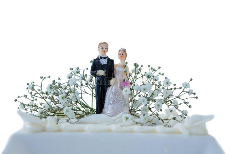Hochzeitstorte mit Paarfigürchen lizenzfreie stockfotos