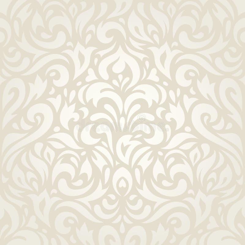 Hochzeitsweinlese Blumen-ecru Tapeten-Hintergrunddesign lizenzfreie abbildung