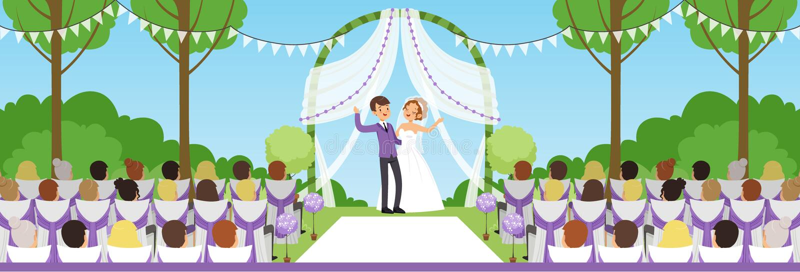 Hochzeitszeremonie im Sommerpark, in den Jungvermählten unter Bogen und in ihren Gästen, die auf horizontaler Illustration Vektor stock abbildung