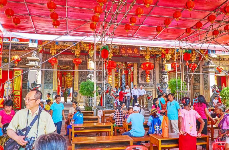 Hock Keong Temple no ano novo chinês, Yangon de Kheng, Myanmar imagens de stock