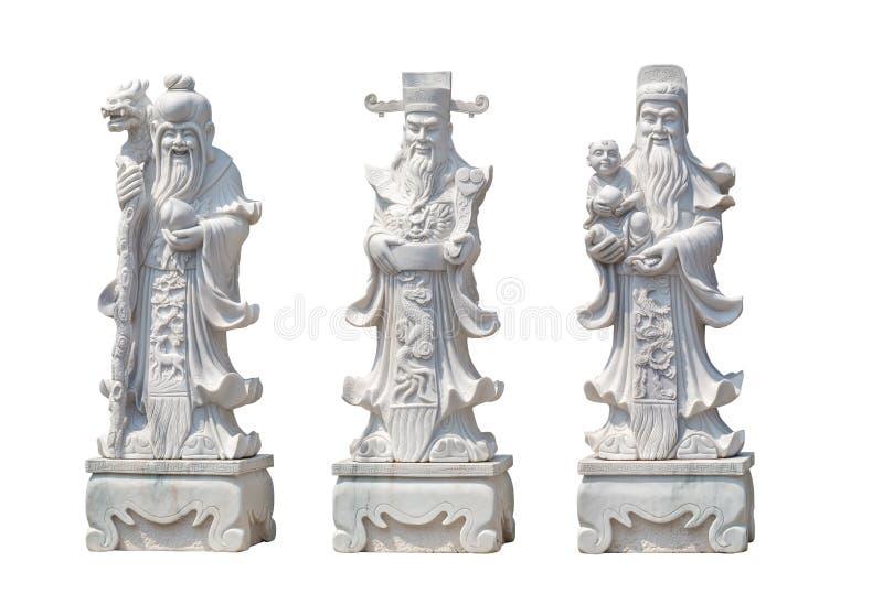 Hock Lok Siew eller Fu Lu Shou, tre gudar av kines arkivbilder