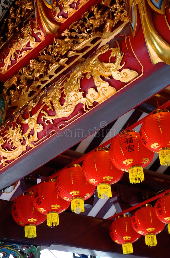 Hock Thian κινεζικές νέες διακοσμήσεις έτους ναών Keng στοκ φωτογραφίες με δικαίωμα ελεύθερης χρήσης