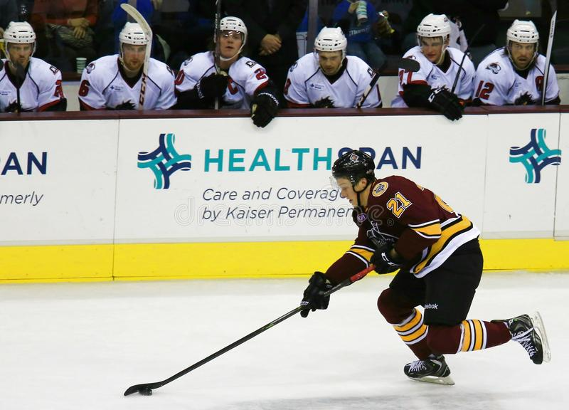 Hockey action. Pro hockey player skates with the puck as the defending team watches from the sideline bench stock photos