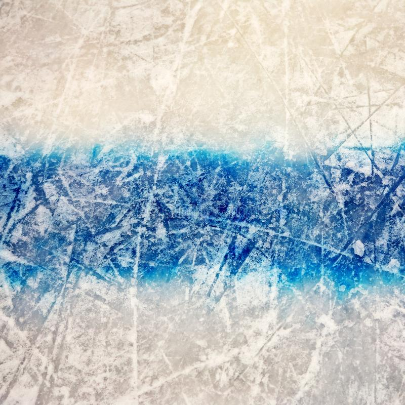 Free Hockey Blue Line On Ice Skating Rink. Winter Sport Background. Royalty Free Stock Photography - 159844217
