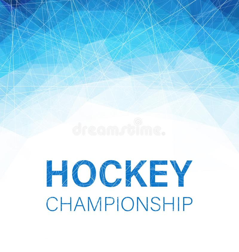 Hockey championship blue abstract poster with geometric pattern. Vector background stock illustration