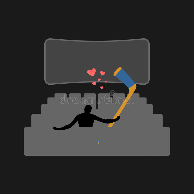 Hockey d'amant Type et bâton de hockey dans la salle de cinéma Watc d'amants illustration libre de droits