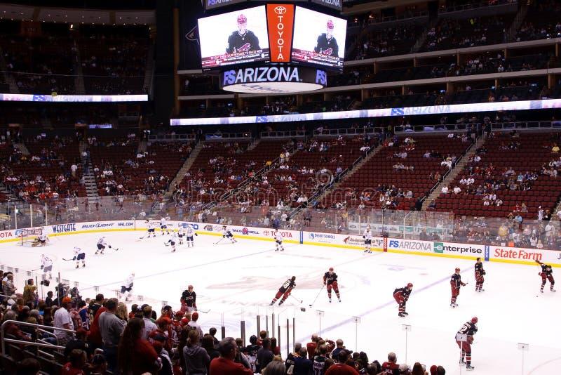Hockey del NHL - engrasadores de Edmonton y coyotes de Phoenix imágenes de archivo libres de regalías