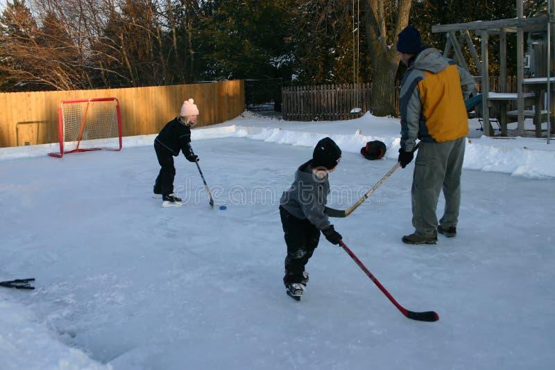 Hockey del patio trasero foto de archivo