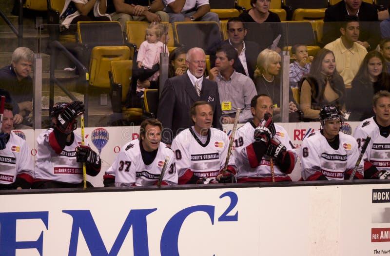 Hockey Don Cherry stock afbeeldingen